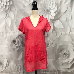 Cherie Coral Lace Short Sleeve Swimsuit Coverup M